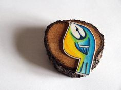 British Garden Bird Brooch Original Blue Eggs and Tea handmade Bluetit brooch pin magnet charm customised
