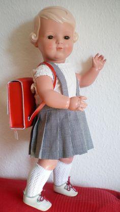 Wunderschöne alte 49 cm Schildkröt Inge Puppe, old german doll