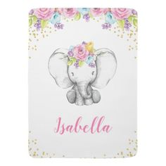 Watercolor Floral Elephant Personalized Girl Baby Swaddle Blanket - flowers floral flower design unique style