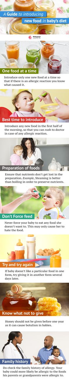 Guide to introducing new foods in baby's diet. #baby #food #toddler #parenting #newmom #weaning