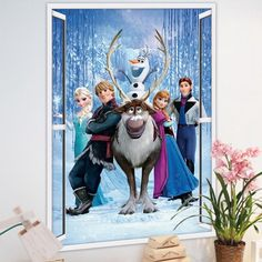 Make your child happy by inviting all the friends from Frozen into your child's bedroom.     All the most important characters are here, including funny Olaf and of course Queen Elsa and her sister Anna.      The sticker measures 48*68 cm. and is made of water-proof, non-toxic PVC - perfectly safe for children of all ages.