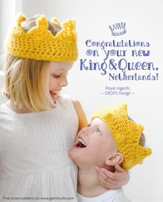 The Netherlands will get a new king & queen April 30th and we would like to join the celebration! Do you have a little king or queen at home who deserves a crown? You'll find three cute patterns for crochet crowns on www.garnstudio.com