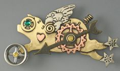 Steampunk Pig, Steampunk Jewelry, Flying Pig Pin,  Mixed Metal Pin, Steampunk inspired jewelry - RP0306