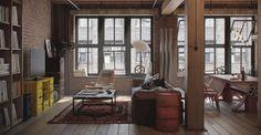 Il loft senza letto: lo spesso pilastro in legno non ingombra l'ambiente è solo l'ideale margine che segna il passaggio dalla zona ristoro all'area relax.