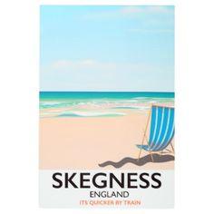 skegness vintage train travel poster. metal print - holidays diy custom design cyo holiday family