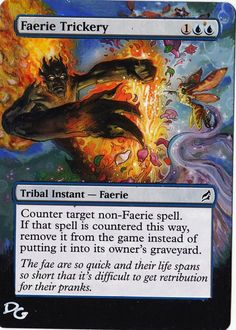 Altered MTG Faerie Trickery by DG www.squidoo.com/magic-the-gathering-altered-art-cards #mtg #magic #magicthegathering #alteredart