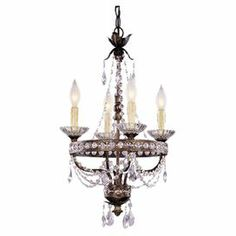 "Add a touch of glamour to your foyer or dining room with this elegant mini chandelier, featuring crystal accents and an antiqued bronze finish.   Product: Mini chandelierConstruction Material: Metal, glass and crystalColor: Silver and antiqued bronzeAccommodates: (4) 60 Watt C bulbs - not includedDimensions: 23.37"" H x 14.37"" Diameter"