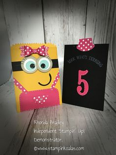 Stampin Up Girl Minion Birthday Invitation using the Mini treat Bag framelit