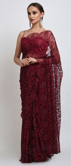 Maroon-Black French Chantilly Lace Swarovski Crystal Saree And Blouse Designer Dress For Men, Indian Designer Wear, Designer Dresses, Designer Sarees, Trendy Sarees, Stylish Sarees, Indian Dresses, Indian Outfits, Sari Bluse