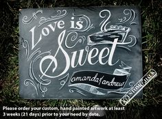 Love Is Sweet - Dessert Table Sign - Sweets Sign - Candy Bar Sign. $149.00, via Etsy.