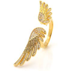 King Ice 18K Gold Winged Ring ($60) ❤ liked on Polyvore featuring mens, men's jewelry, men's rings and gold