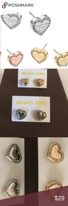 🎀MK earrings🎀 Super cute heart earrings, 100% brand new. Gold and silver available, matching necklace available. No dustbags. Michael Kors Jewelry Earrings