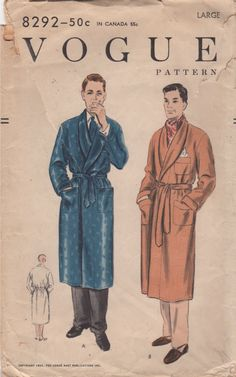 Vogue 9445 Mens Robe Pattern Deep Shawl Collar ala Hugh Hefner mans vintage sewing pattern by mbchills: Mode Vintage, Vintage Vogue, Vintage Men, Vintage Fashion, Vintage Style, Mens Sewing Patterns, Vintage Patterns, Sewing Men, Sewing Ideas