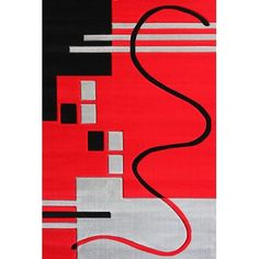 Rug Factory Plus Geo Hand-Tufted Red Area Rug