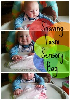 Shaving Foam Sensory Bag - Quick, easy, mess free fun for kids of all ages Sensory Bags, Baby Sensory, Sensory Activities, Craft Activities For Kids, Infant Activities, Learning Activities, Sensory Play, Toddler Class, Toddler Fun