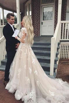 tulle wedding dress with sleeves