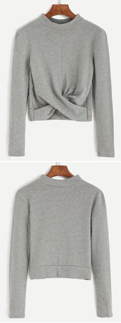 Grey Mock Neck Twist Front Crop T-shirt. Nice for my work outfit.