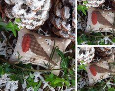 The Little Birds Calendar - February - Robin Cross Stitch Letters, Cross Stitch Love, Cross Stitch Designs, Stitch Patterns, Little Birds, Little Red, Different Birds, Cross Stitching, Blue Bird