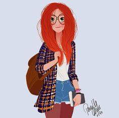 Red-haired Girl #glasses / Ragazza dai capelli rossi #occhiali - Illust. by Pernille