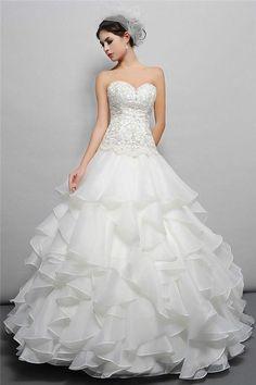 White/Ivory Ruffled Wedding Dress Bridal Gown Custom Size 2 4 6 8 10 12 14 16 18