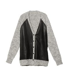 The Military Trend at #ShopBAZAAR: Thakoon Addition Leather Front Cardigan
