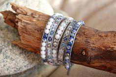 """Bracelet wrap d'Enjoy Wrap modèle """" Azul"""" en pierres semi prècieuses"""