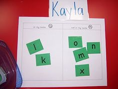 The kids take a little box of letter tiles and sort letters that are in their name and not in their name. Great exercise...could also use for sorting upper/lower-case letters.    From Ms. Kelly's Kindergarten: The ramblings of a kindergarten teacher...