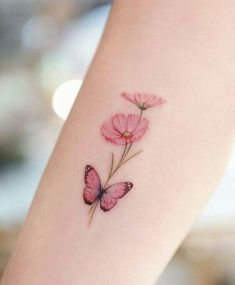 Simple Butterfly Tattoo, Butterfly Tattoos For Women, Wrist Tattoos For Women, Butterfly Tattoo Designs, Pretty Tattoos For Women, Pink Butterfly, Butterfly Mandala Tattoo, Small Flower Tattoos For Women, Watercolor Butterfly Tattoo