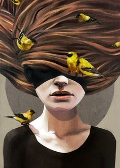 Girl with finches