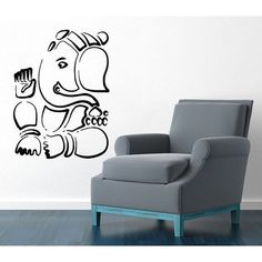 Ganesha Lord Wall Decals Indian Elephant Yoga Decal Gym Wall Decor Art Mural Animals Decor Sticker Decal size 22x26 Color