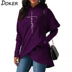 a4b5ee44fbe Autumn Hoodies Sweatshirts Women Long Sleeve Faith Embroidery Warm Hooded  Pullover Tops Plus Size Casual Female Sweatshirt