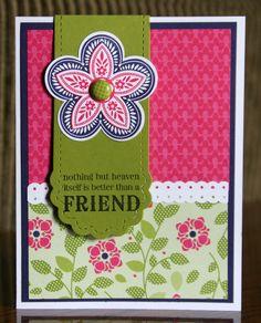 Sunday, April 1, 2012  Stampin' Celebration Inspiration Challenge #53 Stampin' Up!  Two Tag Bookmark  Krystal De LeeuwTriple Treat Flower