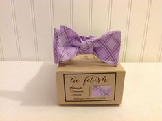 Boys plaid grey and lavender bow tie by TieFetish on Etsy,