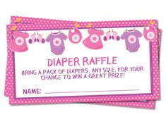 Girls Clothesline Diaper Raffle Tickets Pack Of Diapers, Diaper Raffle Tickets, Clothes Line, Toy Chest, Card Stock, Invitations, Baby Showers, Girls, Prints