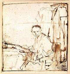 Rembrandt, Sketch for the Portrait of Lieven Coppenol (small plate), about 1658. Pen and brown ink, with brown wash 16.1 x 15 cm © Szépművészeti Múzeum, Budapest (1570)