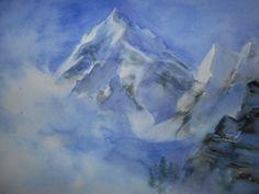 Montagne : Brume dans la vallée(aquarelle)