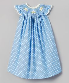 Look at this Jadi Lane Blue Dot Daisy Angel-Sleeve Dress - Infant, Toddler & Girls on #zulily today!