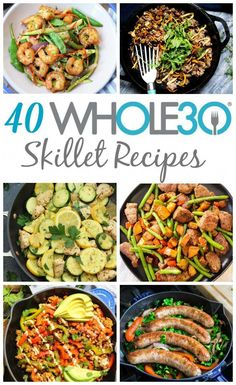 Skillets are my go-to for easy meals. These 40 skillet recipes are so helpful when making meal prep as painless as possible, or for making a weeknight dinner quick and easy. Not only are these but they're Paleo, gluten-free and ma Whole 30 Meal Plan, Whole 30 Diet, Paleo Whole 30, Whole 30 Meals, Quick Meals For Dinner, Whole 30 Drinks, Whole 30 Lunch, Low Carb Quick Dinner, Weekday Dinner Ideas