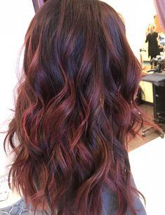 Red Highlights In Brown Hair, Brown Blonde Hair, Light Brown Hair, Brown Hair Colors, Dark Brown, Chunky Highlights, Black Hair Red Tips, Cherry Brown Hair, Dark Red Hair With Brown
