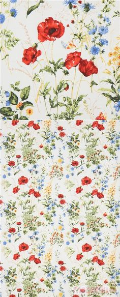 off-white cotton fabric with daisies, poppies, other flowers in yellow, blue etc., Material: 100% cotton, Fabric Type: strong cotton printed shirting fabric #Cotton #Flower #Leaf #Plants #JapaneseFabrics