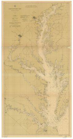 Chesapeake Bay - 1904 Nautical Map - Reprint - 1:200,000  Maryland & Virginia