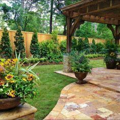 Backyard patio landscape