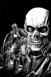 Bruises and Black Eyes, Captain America & Red Skull by Lee Bermejo Captain America Villains, Captain America Art, Marvel Villains, Marvel Heroes, Arte Dc Comics, Marvel Comics Art, Marvel Comic Universe, Comic Book Characters, Comic Character