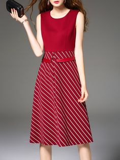 Shop Midi Dresses - A-line Simple Stripes Sleeveless Midi Dress online. Discover unique designers fashion at StyleWe.com.