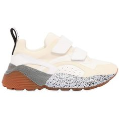 Stella Mccartney Women 50mm Neoprene & Faux Leather Sneakers ($645) ❤ liked on Polyvore featuring shoes, sneakers, off white, faux leather shoes, rubber sole sneakers, strappy shoes, vegan leather shoes and strap shoes