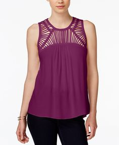 Bar Iii Lattice-Detail Tank Top, Only at Macy's