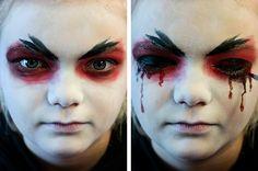 Gruselgesichter schminken, z. B. ein Vampirgesicht. #Kindergeburtstag. Die ganze Schminkanleitung gibt's hier: http://magazin.sofatutor.com/eltern/2015/10/16/halloween-make-up-schminktipps-fuer-hexe-totenkopf-und-vampir/