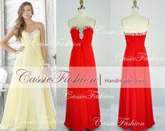 Floor-Length Strapless Draped Beading Red Chiffon Prom Dresses, Evening Gown, Wedding Dress, Bridesmaid Dress Cocktail Dress,Dance Dress