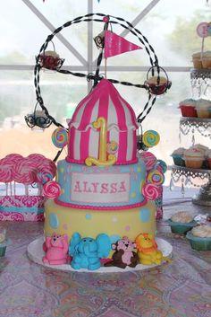 "Photo 1 of 39: Vintage Carnival - Pink / Birthday ""Alyssa's 1st Birthday ""   Catch My Party"