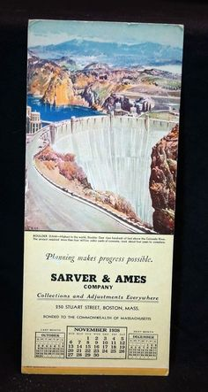 Vintage 1938 Ink Blotter Advertising Boulder Dam Colorado River Scene HISTORIC